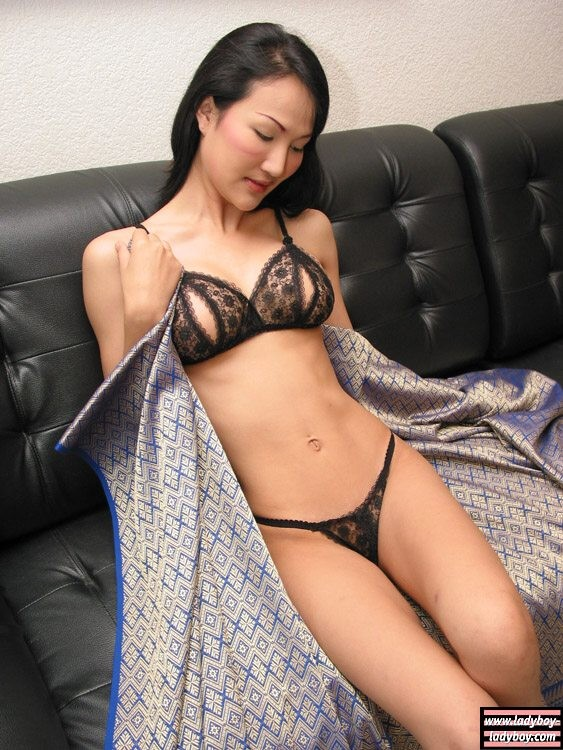 Asian shemale strips down lingerie and jerks